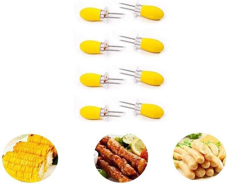 MAGT Forchette magnetiche per Mais in Acciaio Inox 8 Pezzi per spiedini di pannocchia