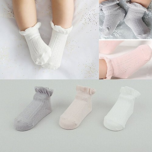 FlyingP 3Pairs Baby Anti Slip Non-Skid Socks Infant Toddler No-Show Crew Ankle Cotton Boat Socks Footsocks Sneakers 3-24 Months Baby