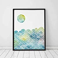 Abstract Sun with Blue Waves Watercolor Ocean Wave Creative Design Artwork Gift Art Print Wall Decor Sea Bedroom Wall Art 8x10 inch Unframed