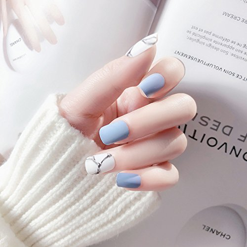 Meili 24Pcs White Light Blue Fake Nail Frost Matte Marble Square Artificial Nail Art Tips With Glue Sticker For Office Home Faux Nail