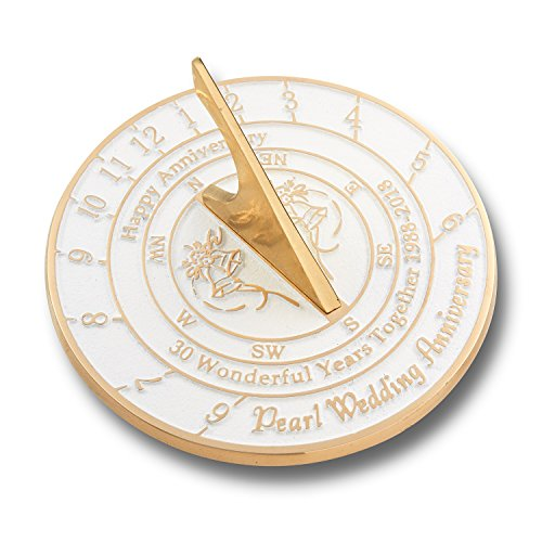 Looking For The Best 30th Pearl Wedding Anniversary Gift? This Unique Sundial Gift Idea Is A Great Present For Him, For Her Or For A Couple To Celebrate 30 Years Of Marriage (30 Year Wedding Anniversary Gift Ideas Couple)