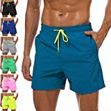 YnimioAOX Men's Swim Trunks Quick Dry Beach Board Shorts Swimwear Bathing Suit with Mesh Lining (A20-peacock Blue, US M/Tag XL)