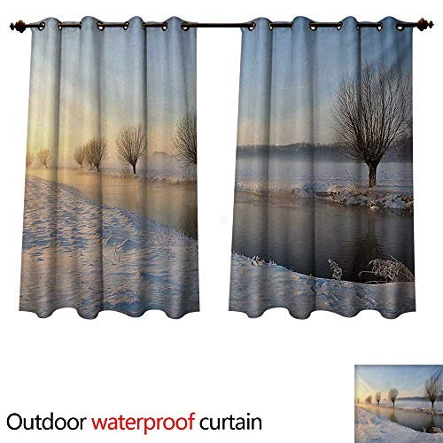 WilliamsDecor Winter Home Patio Outdoor Curtain Snowy River Landscape Barren and Frosted Trees Dutch Netherlands Europe Photograph W84 x L72(214cm x 183cm)