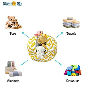 Bean Bag Stuffed Animal Storage Bean Bag Chair Woven Yellow Bean Bag Large Capacity Storage Bag Home Dustproof Zipper Bag(27 inches)