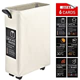 "Caroeas Laundry Basket on Wheels, 22"" Slim Laundry Hamper Collapsible Rolling Laundry Cart with 6 Cards & Leather Handle & Brake (Slim)"