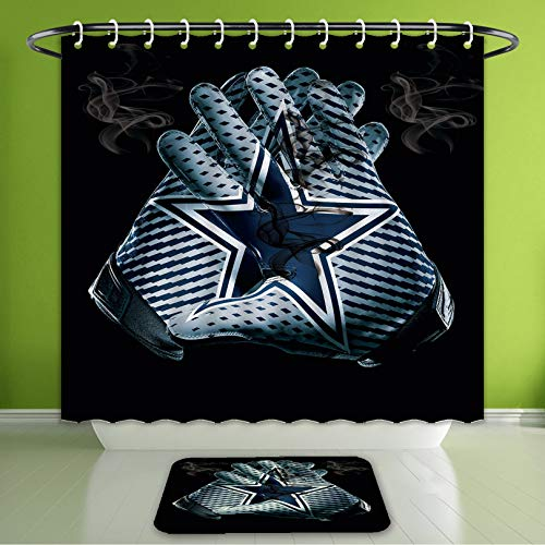 - Waterproof Shower Curtain and Bath Rug Set Baseball Gloves Decor A Dark Blue Pentagram Between The Pair of Baseball Gloves Dallas Cowboy G Bath Curtain and Doormat Suit for Bathroom 66