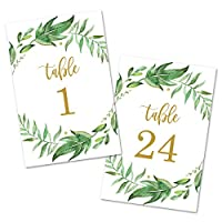 Leafy Greenery Wreath Table Number Cards 1-24 (Gold) - Double Sided 4x6