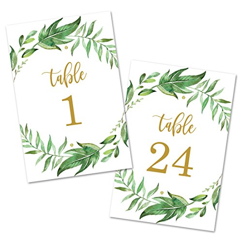 Leafy Greenery Wreath Table Number Cards 1-24 (Gold) - Double Sided 4x6 by InvitationHouse
