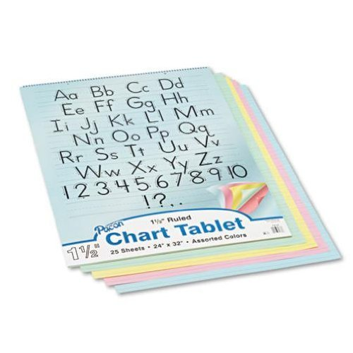 Pacon 74733 Colored Chart Tablet, Ruled, Spiralbound, 24 x 32, Assorted Colors by Pacon