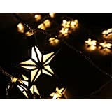 Nascco 20 Led Warm White Star String Lights Solar Powered Outdoor Decorative Lights for Patio Garden Lawn