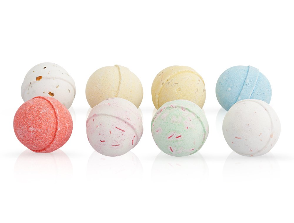 Bath Bombs for Kids - 8 x 60g Handmade In UK - Fizzies with Essential Oils - Natural Aromatherapy Spa Gifts Set by Moksha Beauty