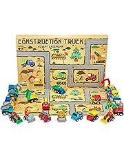 KreativeKraft Adventskalender 2021 met 24 bouwvrachtwagenspeelgoed, kerstadventskalender voor kinderen 3+
