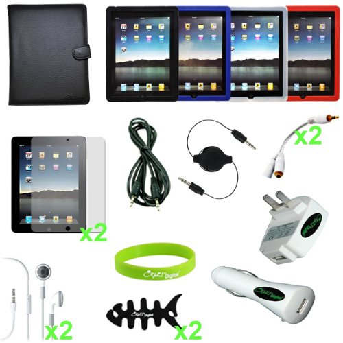CrazyOnDigital 18 Items Accessories Case Charger Screen for Apple iPad 2, iPad 2G - 16 GB, 32 GB, 64 GB, 3G, Wi-Fi (Mobility Charger Bundle)