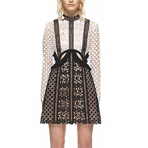 Autumn Embroidery Long Sleeve Lace Patchwork Dresses Runway Self Portrait Dress Party Vestidos Pictures L