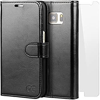 OCASE Samsung Galaxy S7 Case [Screen Protector Included] Leather Flip Wallet Case For Samsung Galaxy S7 - Black