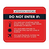 COVID 19 Attention Visitors Door Decal - DO NOT Enter IF - Self Adhesive, Repositionable, Reusable, Removable, Easy to Install