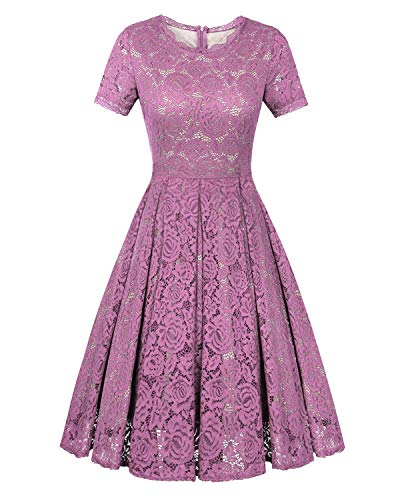 Twinklady Women's Vintage Full Lace Bell Sleeve Big Swing A-Line Dress