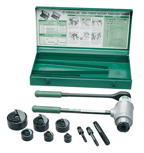 - Greenlee 1906SB Slug-Buster Ratchet Punch Driver Kit With Conduit Size Punches