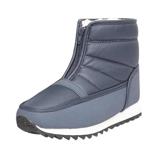 Botas y Botines de Nieve Plataforma para Mujer Otoño Invierno 2018 Moda PAOLIAN Botas Militares con Lana Caliente Medio Zapatos Cuero Señora Calzado Tallas ...