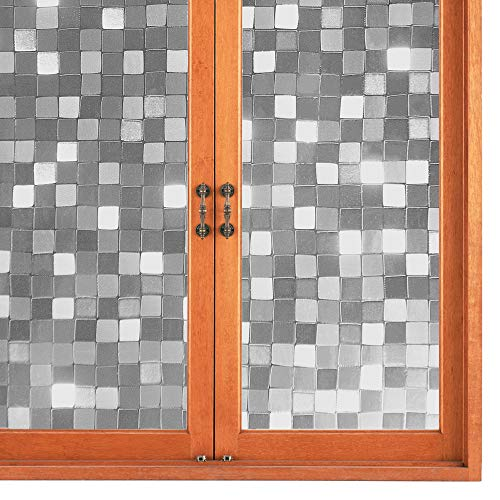 MWAH Window Privacy Film 3D Static Cling Stained for Glass Windows Covering Film Privacy Decorative for Home Bathroom…