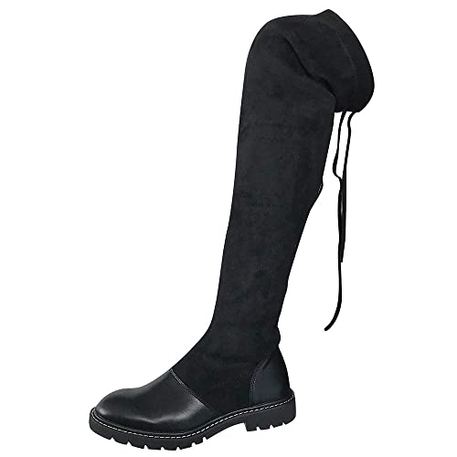 Mitlfuny Mujer Invierno Cuero Sobre la Rodilla Zapatos Las Botas Tacon Ancho Fondo Grueso Delgado Elasticidad Calentar Cordones Ante Piel Botines de Nieve: ...