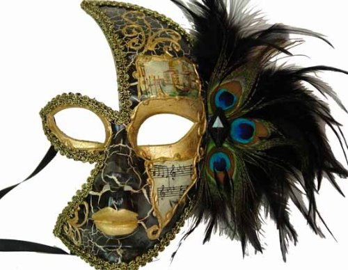 Venetian Side Feather Mask (Venetian Style Half Face Feather on Side with Music Note Designed Mask Black and Gold)