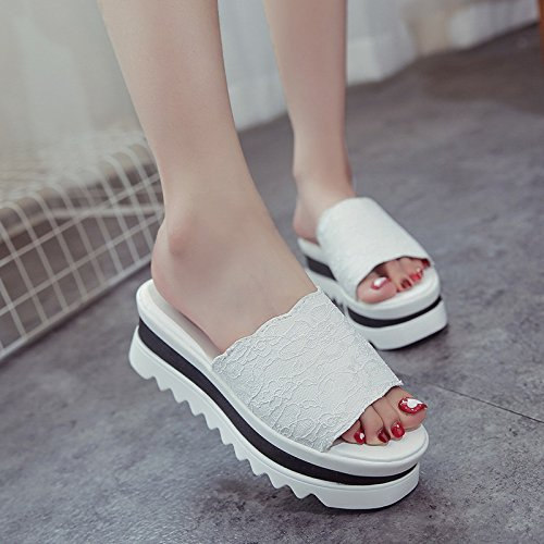 KHSKX-Summer Slippers Slippers _ Thick Soled Sandals And Slippers Fashion Tide Waterproof Taiwan Leisure Female Thirty-seven kI5Z7uYjMF