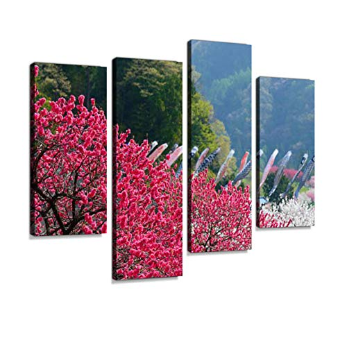 Peach Blossoms at Gessen Onsen in Achi, Nagano, Japan Canvas Wall Art Hanging Paintings Modern Artwork Abstract Picture Prints Home Decoration Gift Unique Designed Framed 4 Panel