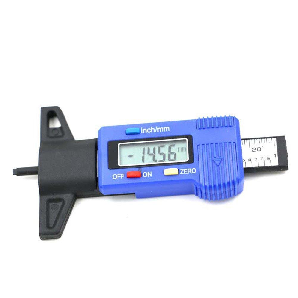 Proglam Auto-Reifentester Bremsbackenbelag Verschlei/ß Digitaler Reifen-Tiefenmesser Lauffl/ächenmonitor Auto Reifendruckmessung blau