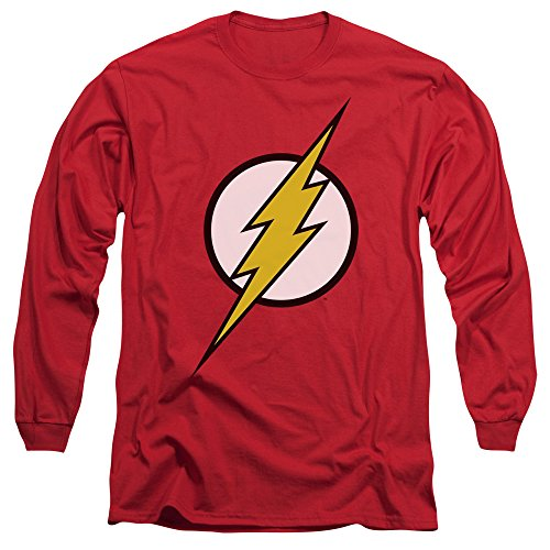 Justice League DC Comics Flash Logo Adult Long Sleeve T-Shirt Tee