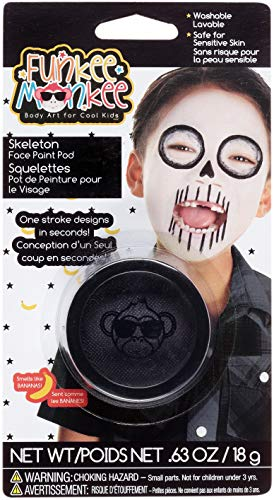 Funkee Munkee 38455 Pod Skeleton, Banana Scented, Costume and Party Makeup Face Paint, Black