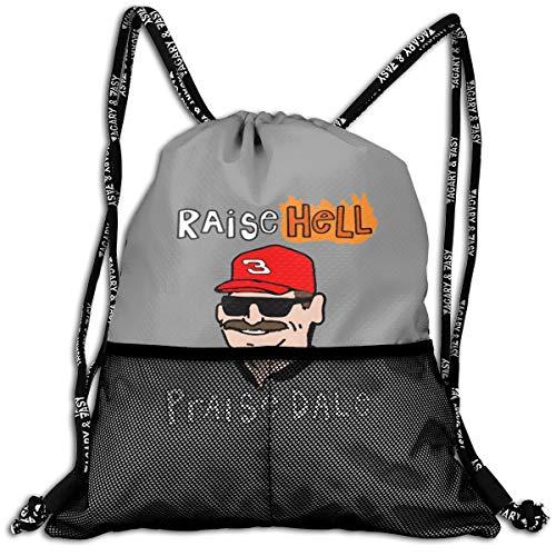 Dale Jr Earnhardt Backpack - Drawstring Backpack Gray Raise Hell Praise Dale Shoulder Bags Rucksack For Kids Teens Boys And Girls Sport Gym Sack Cute Gym Bags