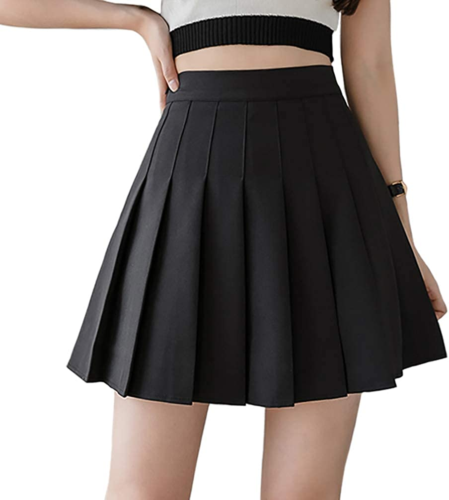 Minuoyi Sports High Waist with Underpants Tennis School Cheerleader Pleated Skirt at  Women's Clothing store