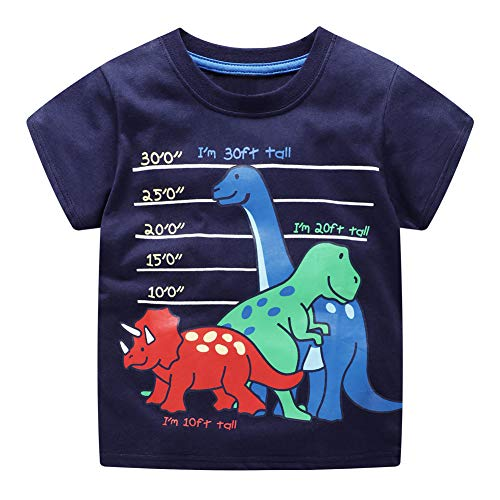 DYW Toddler Girls Short Sleeve T-Shirt Round Neck Cute Graphic Cotton Tees 2-7 Years (Boys-Dinosaurs, ()