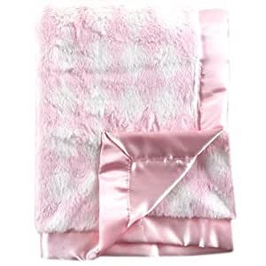 Hudson Baby Plush Blanket with Satin Trim and Backing, Pink