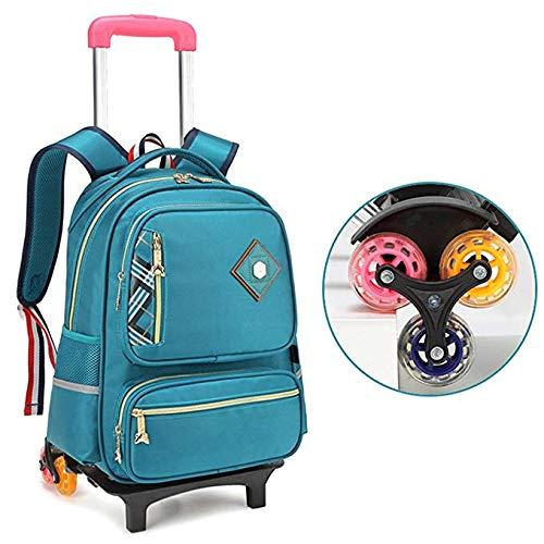 LYZL Carrello per Bambini della Scuola elementare Borsa 3-6 Grado Uomini e Donne Zaino Staccabile 6 Trolley Ruota per Bambini Bag,blu