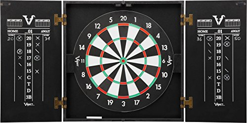 - Viper Hideaway Cabinet & Steel-Tip Dartboard Ready-to-Play Bundle, Reversible Standard and Baseball Game Options with Two Sets of Steel-Tip Darts and Chalk Scoreboards, Black Matte Finish