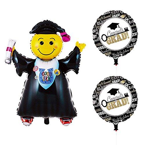 Congrats Grad Auto - Graduation Mylar Balloons | Graduation Foil Balloons | 2pcs Congrats Grad Balloons, 1pcs Jumping Grad Balloon | Large Size, 40inch