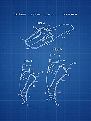 Framable Patent Art The Original Ready to Frame D/écor Ballet Slipper Dance Shoe Footwear 8in by 10in Patent Art Poster Print Blueprint PAPXSSP49B