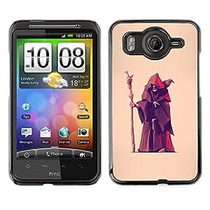 For HTC Desire HD / G10 / inspire 4GCase , Fortune Teller Witch Old Man Crow - Diseño Patrón Teléfono Caso Cubierta Case Bumper Duro Protección Case Cover Funda