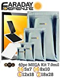 Faraday Cage EMP/ESD Bags 40pc 2-Metal Layer, Fully-Specced Uber Thick, Heavy Duty Electro-shielding Kit XXX-Large Laptop / Notebook iPad Windows …
