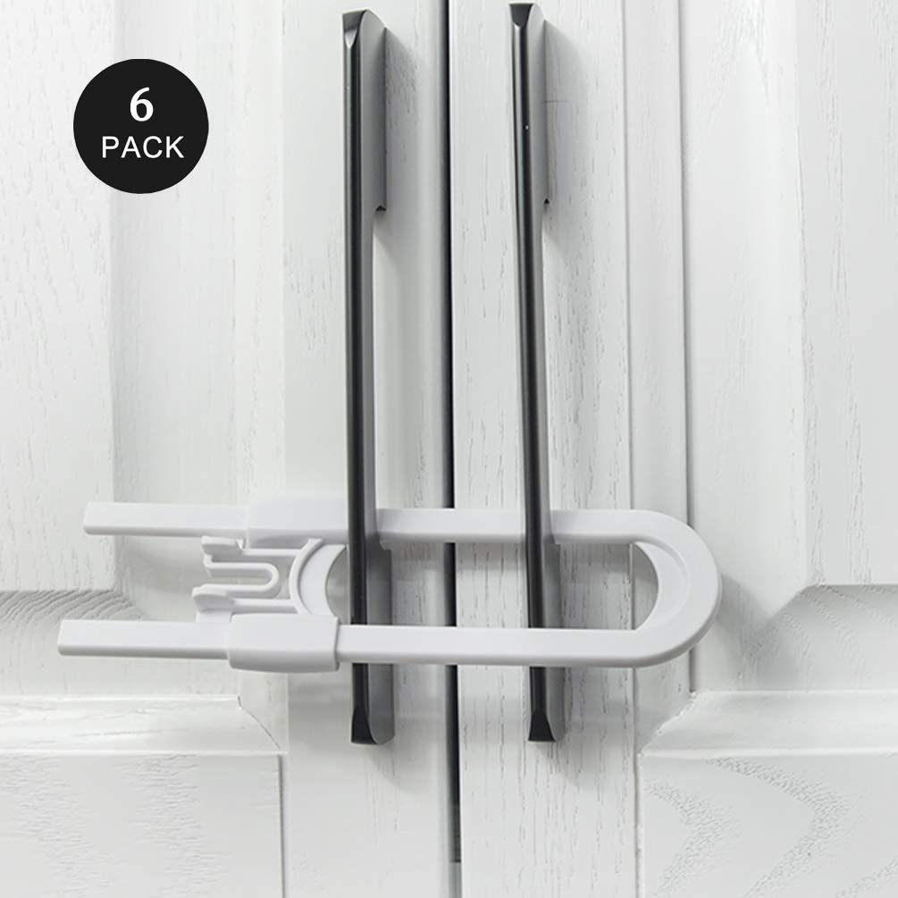6Pcs Sliding Baby Cabinet Locks, Easy for Parents, Socub U Shape Baby Proof Cabinet Latches, Handles on Kitchen, Fridge, Cabinet, Cupboard, Closet, Bathroom