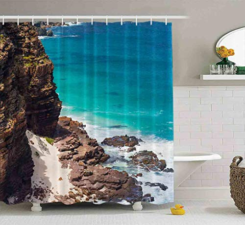 Shorping 78X72 Shower Curtain,Clear Shower Curtain, Cute Shower Curtain Baby Shower Curtain Set Beach Point South Africa Cape Bathroom Set with Hooks Bath Shower Curtain Shower Curtain for Women