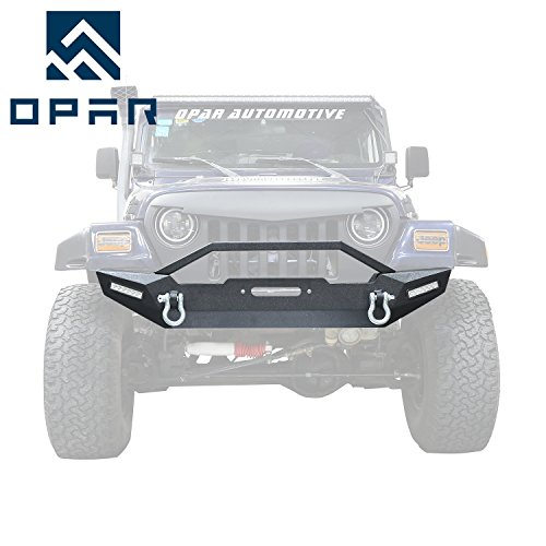 Jeep Wrangler Front Bumper,Opar BLADE Bumper w/ Winch Plate & 2x LED Accent Lights for 1987-2006 Jeep Wrangler YJ TJ & Unlimited