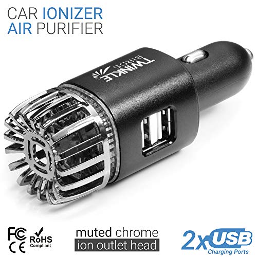 TwinkleBirds Car Air Purifier Ionizer - 12V Plug-in Ionic Anti-Microbial Car Deodorizer with Dual USB Charger - Smoke Smell, Pet and Food Odors, Allergens, Viruses Eliminator for Car (Matte Black)