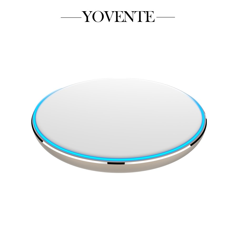 Yovente Wireless Charging Pad for Samsung Galaxy S7 S6 Edge Plus 5 Nexus 4 5 6 7 Nokia Lumia 920 and all Qi-Enabled Devices, White & Gold