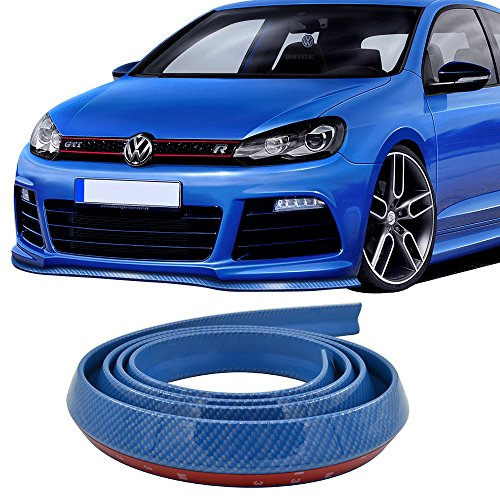 Front Bumper Lip Fits Universal Vehicles 100 Inch | Blue PVC Front Lip Finisher Under Chin Spoiler Add On by IKON (01 Acura Integra 2dr Tail)