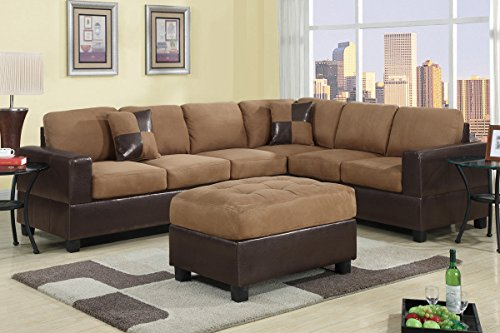 Poundex F7632 Lt. Brown Microfiber & Dark Brown Leatherette Base Sectional Sofa