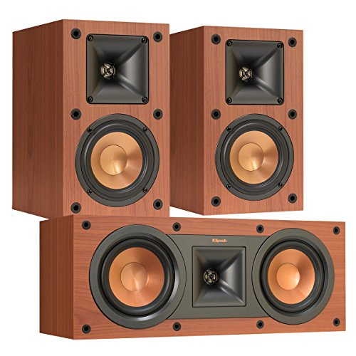 Klipsch R-14M Reference Monitor Speakers with R-25C Reference Center Speaker (Cherry) by Klipsch