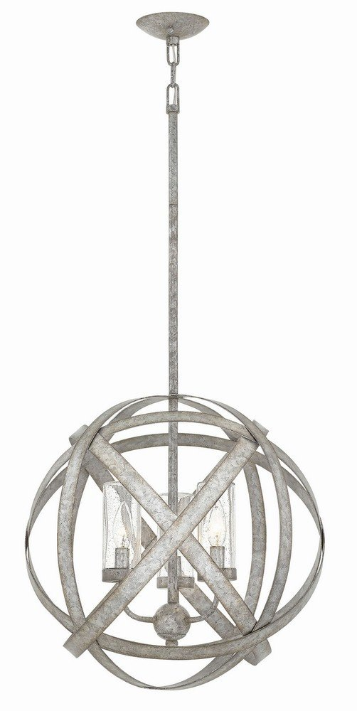 Hinkley 29703WZ Transitional Three Light Outdoor Chandelier from Carson collection in Bronze/Darkfinish,